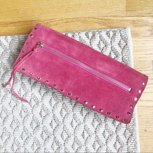 Banana Republic pink suede studded clutch